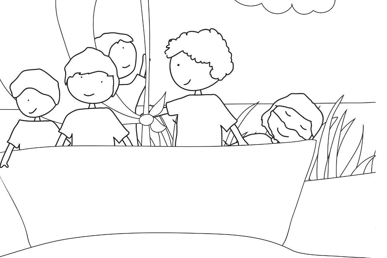 Coloriage, Jésus est dans la barque