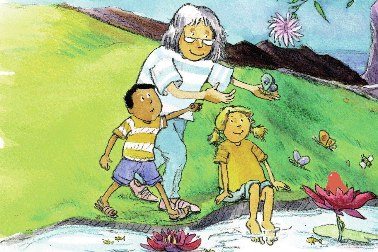 Une grand-mère et ses petits enfants dans la nature