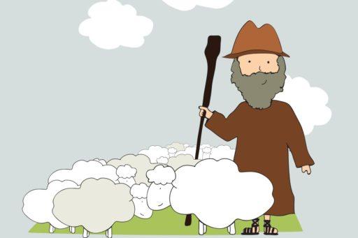 Un berger et ses moutons
